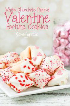 White Chocolate Dipped Valentine Fortune Cookies | JavaCupcake.com