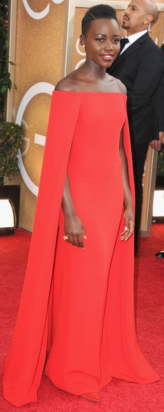 Lupita Nyong'o on the Golden Globes red carpet #naturallyfly #bigchop @Naturally You Family Hair Care @michelleann007