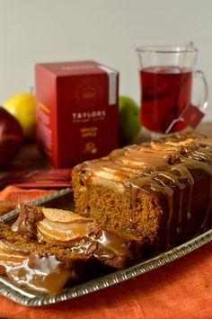 Sticky toffee apple gingerbread loaf cake