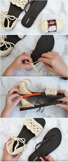 Crochet Tutorial Patterns Crochet Sandals With Flip Flop Soles – Easy Tutorial Crochet Shoes Pattern, Shoe Pattern, Crochet Patterns, Easy Patterns, Crochet Diy, Crochet Slippers, Diy Crochet Sandals, Tutorial Crochet, Beginner Crochet