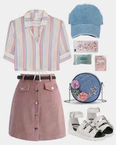 Kpop Fashion Outfits, Korean Outfits, Retro Outfits, Girly Outfits, Cute Casual Outfits, Outfits For Teens, Stylish Outfits, Vintage Outfits, Summer Outfits