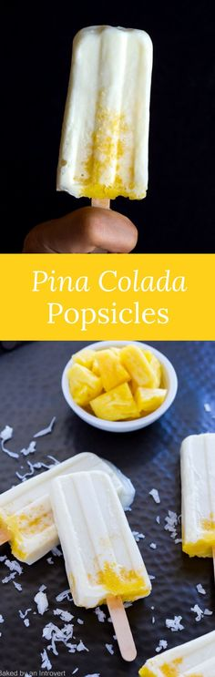 These homemade pina colada popsicles are very tropical and taste so much better than a high calorie mixed drink.  via @introvertbaker