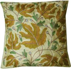 ($22.00) Decorative Pillow Cases Hand Embroidered - Traditional Indian Decor From Maple Clothing