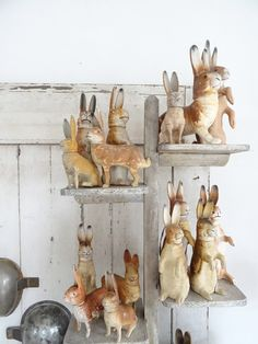 Antique Bunnies Candy Containers, on display. Vintage Easter, Vintage Holiday, Paper Mache Animals, Diy Ostern, Rabbit Art, Easter Parade, Easter Candy, Candy Containers, Clay Ornaments