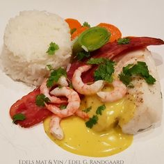 Edels Mat & Vin: Fisk Cod Recipes, Caprese Salad, Bacon, Breakfast, Food, Cod Fish Recipes, Morning Coffee, Meals, Yemek