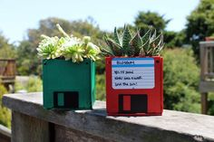 10 Creative Ways to Repurpose Your Old Tech Products --> Floppy Disk Planters #craft #garden #repurpose #decor