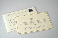 send your wedding invitation to the white house and they send this fun keepsake back!