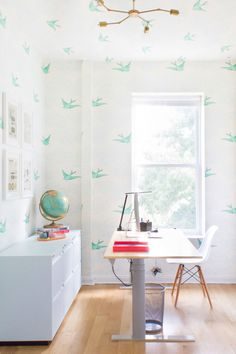 A Whimsical and Wonderful Home Office in Park Slope I ft. Daydream (Green) wallpaper by Julia Rothman Workspace Design, Home Office Design, Home Office Decor, Home Decor, Hygge And West, Workspace Inspiration, Design Inspiration, Design Ideas, Modern Desk