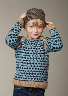 Image of Børne Sweater Med Raglan, Strikkeopskrift, Strikkebogen Model 111
