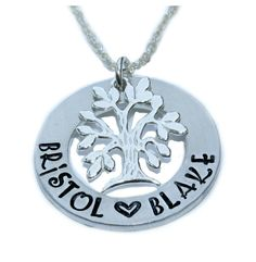 NOTE ---> THE BACK OF THIS ITEM CANNOT BE STAMPED    HAND STAMPED 1 ALUMINUM WASHER Sterling Silver Family Tree charm    18 Silver plated curb