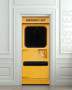 Door STICKER emergency exit fire station mural decole by Wallnit, $39.99
