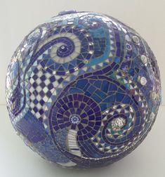mosaic orb blue gazing ball garden terracotta by PsykelChic