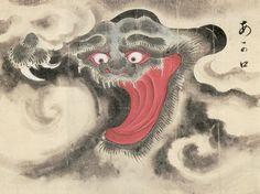 佐脇嵩之『百怪図巻』より「あか口」1737年頃 Specter red mouth 1737