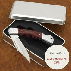 Hard Wood Handle Locking Pocket Knife for Groomsmen