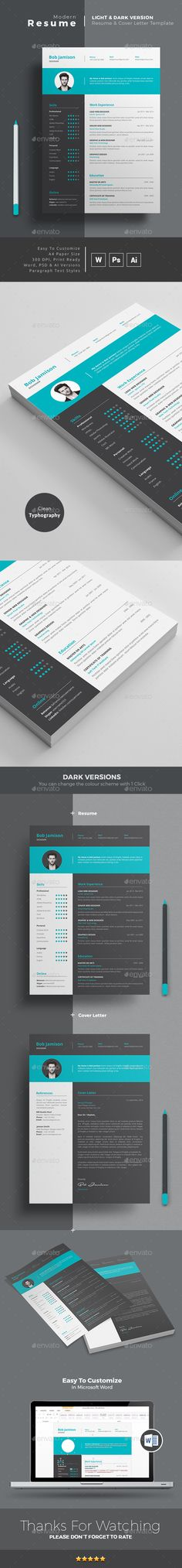 MS WORD CV Template   Resume Template + Cover Letter   PSD + AI Versions with color options. Download and Edit http://graphicriver.net/item/resume/14779867?ref=themedevisers