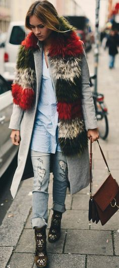 Nina Suess Multi Faux Fur Scarf On Gray Coat Fall Street Style Inspo