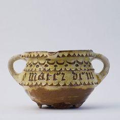 Cooking Pot F 9688    Owner: Museum Boijmans Van Beuningen, Rotterdam    Dating: 1475-1525    Material: earthenware    Excavation: Unknown    Place of origin: South Netherlands, Brughes region    Decoration/Inscription: O MATER DEI N MEMENTO ME