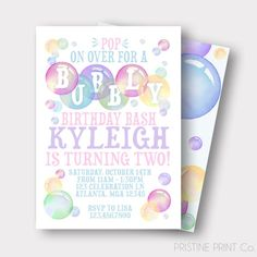 This listing is for the DIGITAL FILE of our Bubbly Birthday Bash Invitation Once completed, you will be responsible for the printing whether from home or through a printing company. MAKE SURE TO CHECK OUT OUR Made To Match LISTING FOR COORDINATING PARTY ITEMS: Bubble Birthday Parties, Girl Birthday Themes, Girl First Birthday, Birthday Bash, Birthday Invitations, Birthday Cards, Birthday Ideas, Turtle Birthday, Carnival Birthday