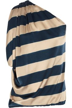One-shoulder striped silk-satin top by Lanvin