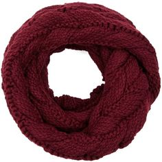 Écharpe-tube bordeaux en maille torsadée ($16) ❤ liked on Polyvore featuring accessories, scarves and tube scarves