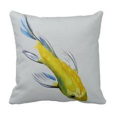 Yellow Koi Japanese watercolour fish art Pillow