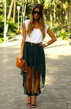 Zara Asimetric Green Long Skirt, Mango Heeled Black Sandals, Zara White Top