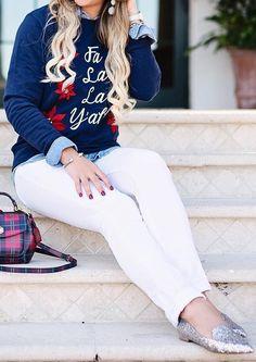 #outfits #fall #fashion Blue Fa La La Y'all Sweater // White Skinny Jeans // Metallic Flats // Tartan Plaid Shoulder Bag