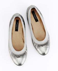 Ann Taylor - ANN Online Exclusives - Stretch Metallic Leather Flats