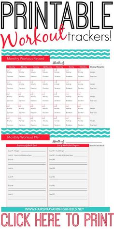 Fitness Tracker Printable – Hairspray and Highheels Get the updated version of these fitness tracker printables right here! Hi friends! It's fitness tracker day! It's only 24 days into this whole… Fitness Workouts, Fitness Motivation, Fitness Goals, Fitness Tips, Fitness Journal, Fitness Planner, Free Fitness, Fitness Challenges, Enjoy Fitness