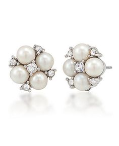 Carolee Earrings, Silver-tone Small Cluster Button Earrings