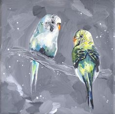 Budgies Parakeets // Original Bird Animal by cathpillingart, £170.00