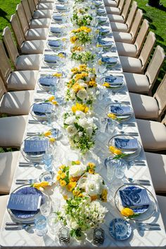 A bright & beautiful table stole the show at this birthday party. Vibrant y… A bright & beautiful table stole the show at this birthday party. Vibrant yellow florals and navy blue menus added pops of color along the chic white scape. Blue Birthday Parties, Yellow Birthday, Birthday Table, Birthday Celebration, 60th Birthday, Blue Wedding, Wedding Table, Wedding Colors, Yellow Wedding Flowers