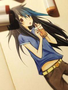 Anime drawing girl bubble tea tootokki