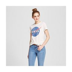 Women's Nasa Graphic Tee Cream ($13) ❤ liked on Polyvore featuring beige