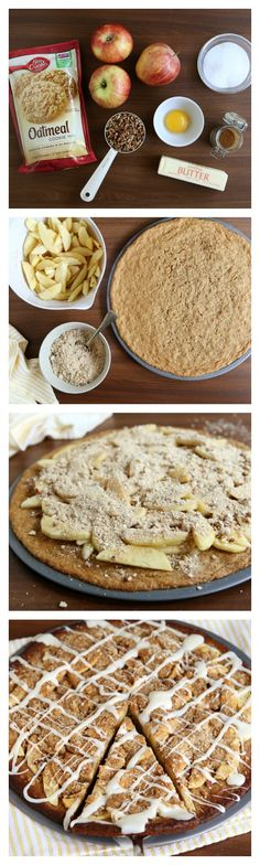 We'd love to share a slice of this decadent fall dessert with whoever thought to combine apple crisp, cookies and dessert pizza in one recipe. This genius idea is easy to whip up on a weeknight—you could even serve it at a fall brunch! Tart apples like Granny Smith tend to work best.