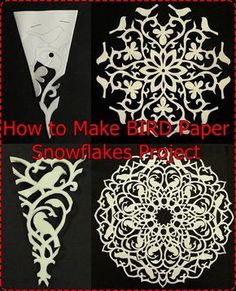 "Paper Embroidery Ideas How to Make BIRD Paper Snowflakes Project Homesteading - The Homestead Survival .Com ""Please Share This Pin"" Paper Snowflake Designs, Paper Snowflake Template, Origami Templates, Box Templates, New Crafts, Holiday Crafts, Crafts For Kids, Bird Crafts, Diy Paper"