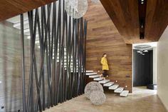 This country houses is a project designed by Alexandra Fedorova and is located on novorizhskoe highway. Photography by Alexandra Fedorova Lobby Interior, Interior Stairs, Decor Interior Design, Interior Design Living Room, House Stairs, Facade House, Wood Slat Wall, Stair Handrail, Unique House Design
