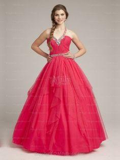 BallGown Halter Tulle Satin Floor-length Red Rhinestone Quinceanera Dresses