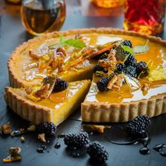 Maple spiced pumpkin tart with pecan toffee