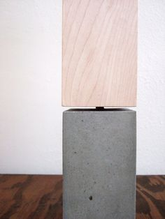 concrete table lamp and wood veneer shade: yournestinspired
