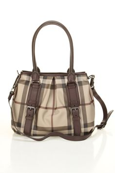 Burberry Smoked Check Small Northfield Tote In Plum -
