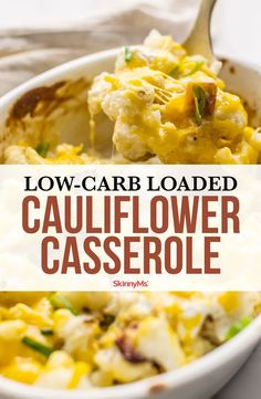 Get all the flavor you crave from loaded baked potatoes in a Keto-friendly recipe with this Low-Carb Loaded Cauliflower Casserole. Healthy and delicious! Low Carb Appetizers, Low Carb Dinner Recipes, Side Dish Recipes, Appetizer Recipes, Appetizer Ideas, Side Dishes, Clean Eating Dinner, Clean Eating Recipes, Healthy Eating