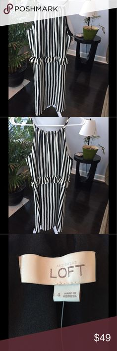 Loft striped dress NWT Loft black and cream striped dress. Size 4. Never worn. Perfect for Spring or Summer. No trades. LOFT Dresses Midi