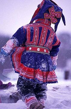 Sami child in traditional costume.