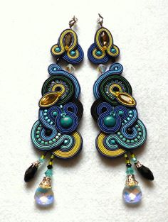 Extra Long Soutache Earrings Colorful Swarovski by KCSoutache