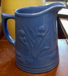 Red Wing Pitchers Vintage | very nice Red Wing Stoneware Blue Iris Pitcher. Signed Red Wing U.S ...