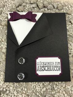 Glückwunschkarte zum Abschluss Schule Prüfung Abi Anzug Stampin' Up! Handarbeit in Möbel & Wohnen, Hobby & Künstlerbedarf, Basteln | eBay