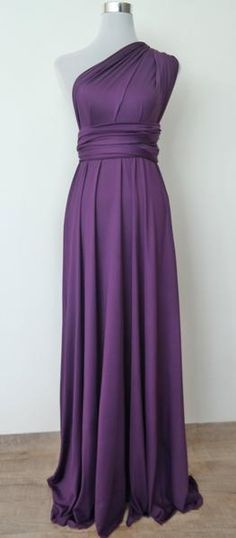 LilZoo Full Length Convertible Infinity MultiWay Wrap Dress in Royal Purple with Free Bandeau Eggplant purple dress