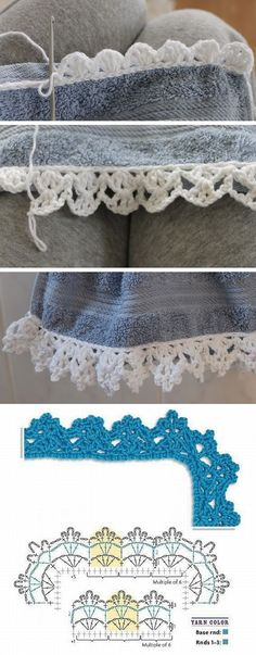 If you looking for a great border for either your crochet or knitting project, check this interesting pattern out. When you see the tutorial you will see that you will use both the knitting needle and crochet hook to work on the the wavy border. Crochet Boarders, Crochet Edging Patterns, Crochet Lace Edging, Crochet Chart, Thread Crochet, Crochet Trim, Diy Crochet, Crochet Stitches, Stitch Patterns