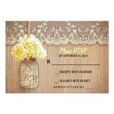 Yellow Wedding RSVP cards hydrangea mason jar rustic wedding RSVP cards